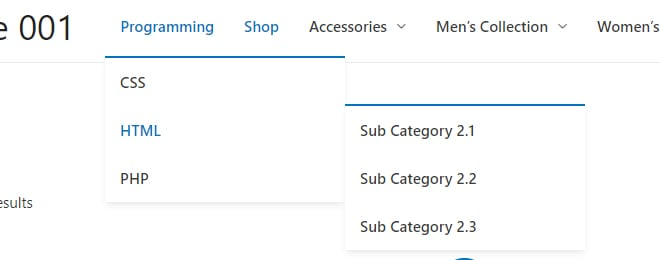 Adds Sub Categories as Sub Menu Items under a Parent Category Menu Items