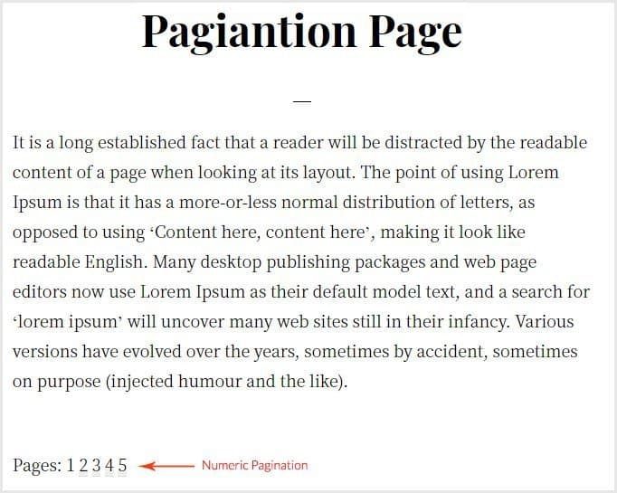 Numeric pagination of pages link