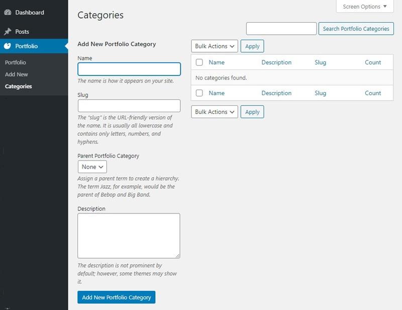 Register Taxonomy for Portfolio Categories