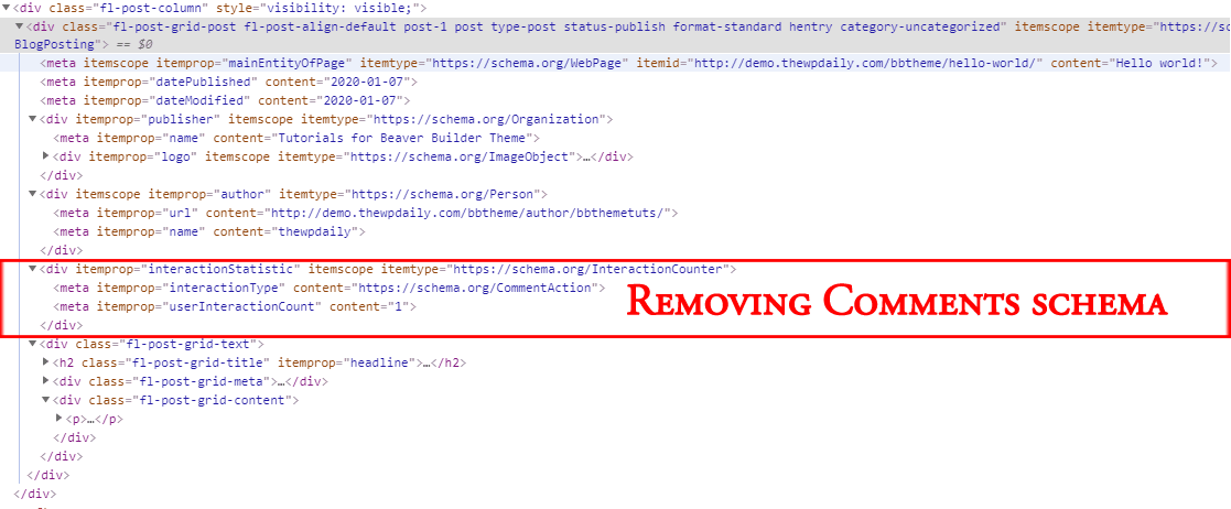 Removing Comments Schema