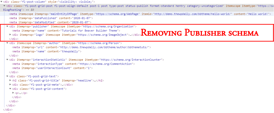 Removing Publisher Schema